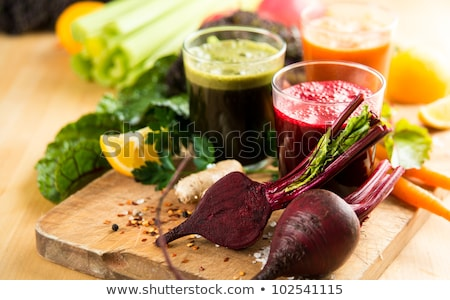 fraîches · smoothie · carottes · table · en · bois · vert - photo stock © m-studio