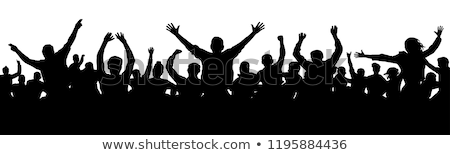 Group of happy people with banner. stock photo © Kurhan