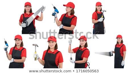 Donna armato potere trapano costruzione ritratto Foto d'archivio © photography33