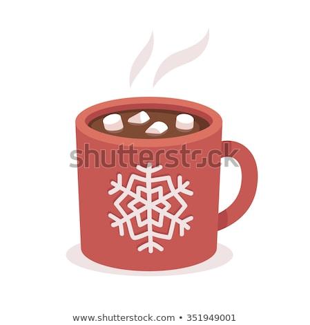 Illustré tasse chocolat chaud vert Photo stock © komodoempire