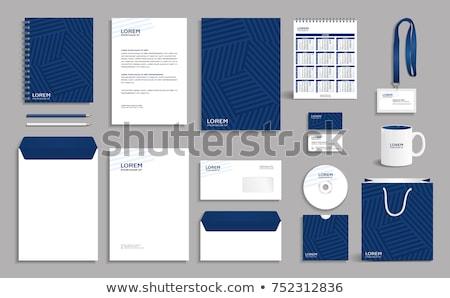 azul · artigos · de · papelaria · conjunto · abstrato · cinza · gráficos - foto stock © malexandric