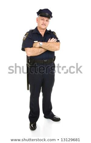 policjant · odizolowany · przystojny · dojrzały · uniform - zdjęcia stock © lisafx