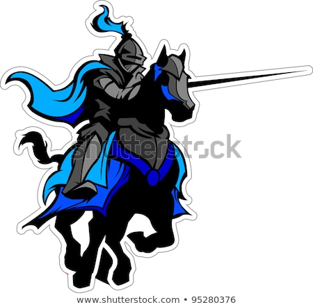 jousting blue knight mascot on horse stock photo © chromaco