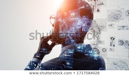 Intelligent zakenman gezicht werk achtergrond pak Stockfoto © photography33