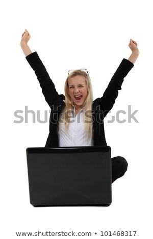 Extático mujer portátil negocios Internet cuaderno Foto stock © photography33
