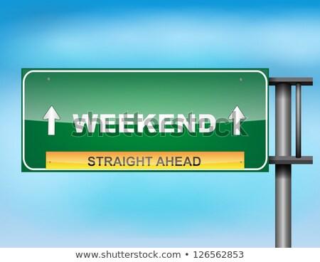 straat · teken · weekend · Rood · pijl · wijzend - stockfoto © stevanovicigor