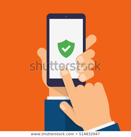 Stock photo: hands holding protective shield