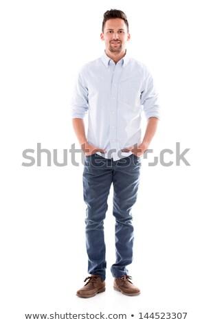 man · handen · glimlachend · foto · jonge - stockfoto © feedough