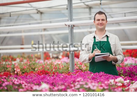 Smiling man on the phone and taking notes in greenhouse in garden center Stock photo © wavebreak_media