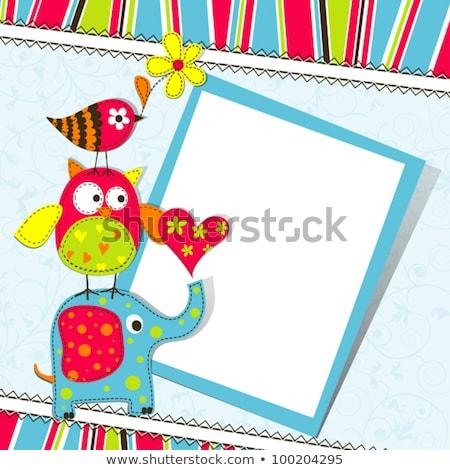 フクロウ カード 挨拶 お祝い 抽象的な 中心 ストックフォト © popocorn