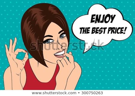 Retro illustratie mooie vrouw beste prijs bericht vector Stockfoto © balasoiu