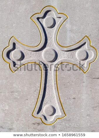 Złoty krucyfiks marmuru Jezusa Chrystusa krzyż Zdjęcia stock © sirylok