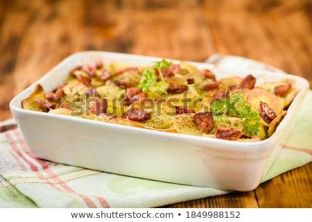 Salsicha torta isolado branco comida jantar Foto stock © ruzanna