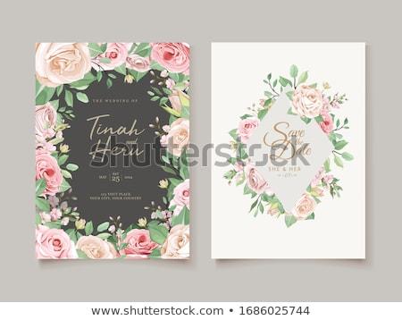 tarjeta · de · felicitación · corazón · aumentó · azul · boda · signo - foto stock © carodi