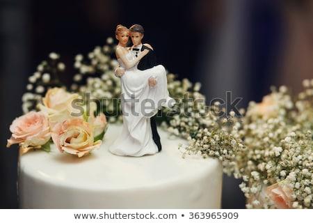 Menyasszony vőlegény háttér tánc házasság fehér Stock fotó © gsermek