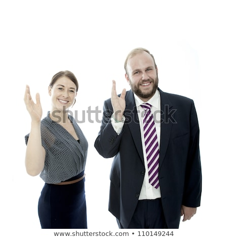 Stock photo: young brunette woman and beard business man wave