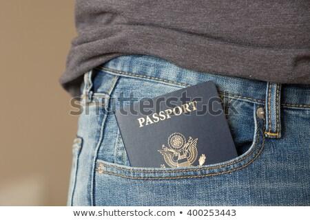 Poche passeport Espagne Retour bleu Photo stock © Tagore75