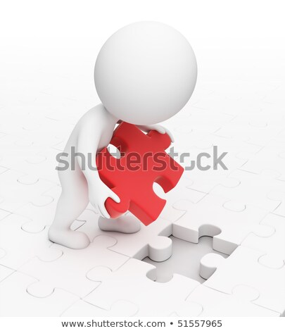 3d small people   main puzzle stock photo © anatolym