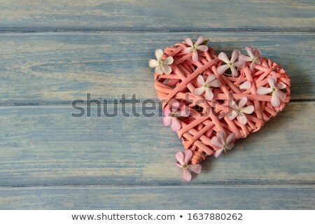 red present with wooden heart shape and love Stock photo © compuinfoto