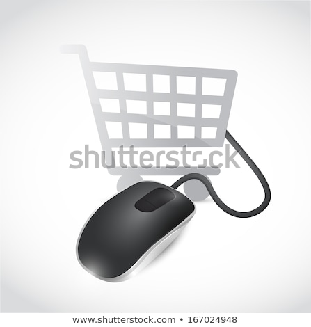 Shopping Online Basket Illustration Design Over White Photo stock © alexmillos