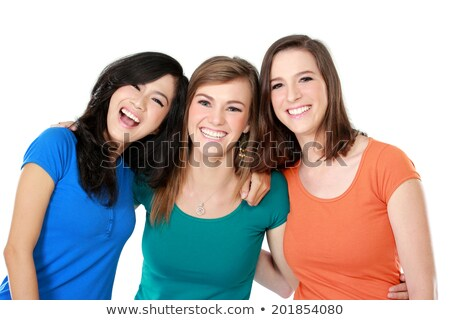 positive young brunette woman having fun isolated on white background stock photo © nejron