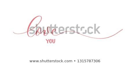 Piros szív szeretet felirat papír felhők Stock fotó © gladiolus