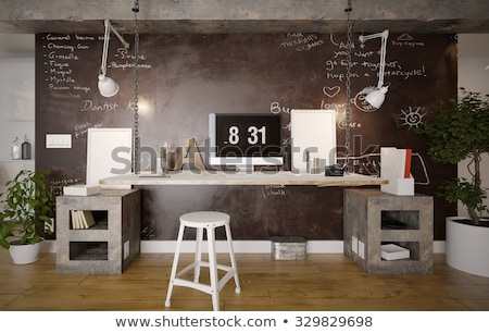 Moderno home office interior design scaffali business legno Foto d'archivio © vizarch