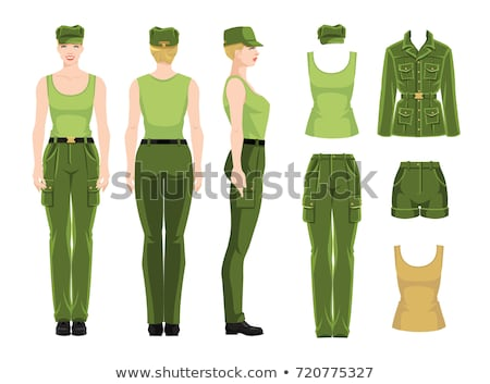 Military army soldier with turned back wearing uniform and cap Stock photo © feelphotoart