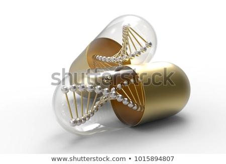 kinyitott · tabletta · kapszula · ezüst · arany · izolált - stock fotó © montego