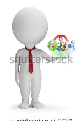 Stok fotoğraf: 3D · küçük · insanlar · müdür · takım · palmiye
