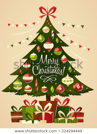 vector retro christmas tree stock photo © orson