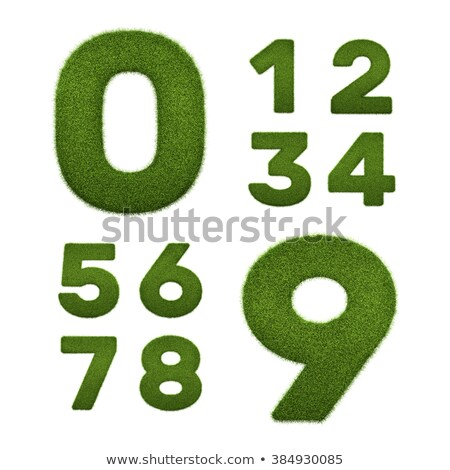 Digits 6, 7, 8, 9 of 3d Green Grass - Set. Stock photo © tashatuvango