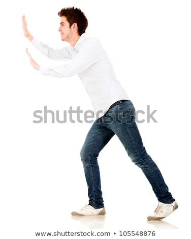 man · pose · positie · geïsoleerd · witte - stockfoto © tiero