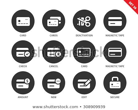Mágneses szalag hitelkártya ikon fehér üzlet Stock fotó © tkacchuk