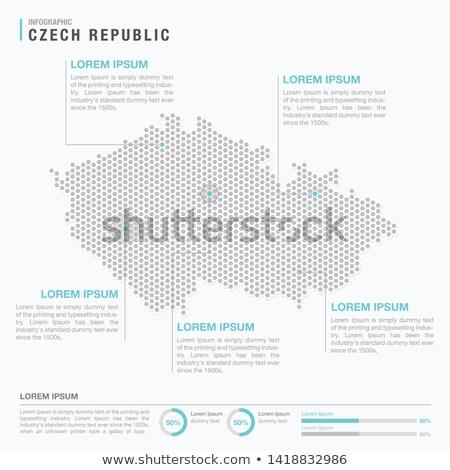 Foto stock: Mapa · República · Checa · ponto · padrão · vetor · imagem