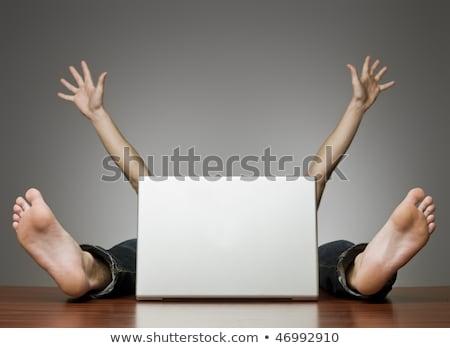 üzletember · rejtőzködik · mögött · laptop · fej · munkahely - stock fotó © deandrobot