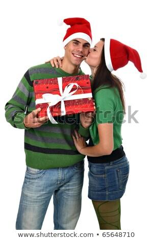 若い女性 · キス · 彼氏 · 赤 · クリスマス - ストックフォト © peterpolak
