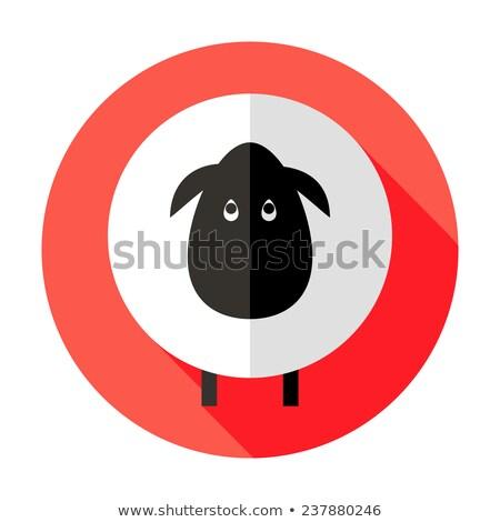 Schapen cirkel icon Rood illustratie chinese Stockfoto © Anna_leni