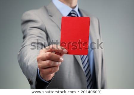 üzletember · mutat · piros · kártya · izolált · fehér - stock fotó © andreypopov