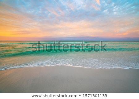 Foto stock: Puesta · de · sol · playa · hermosa · vista · sol · naturaleza