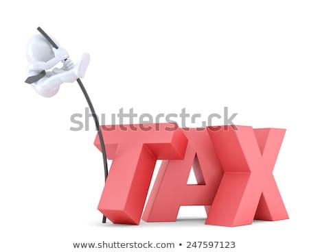 Foto stock: Homens · de · negócios · saltando · dívida · assinar · alto · pólo