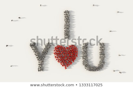 3d group of words shaping a heart with pink white text Stock photo © vipervxw