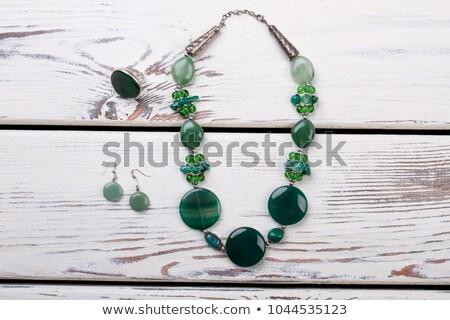 Ketting groene stenen witte mode Stockfoto © RuslanOmega