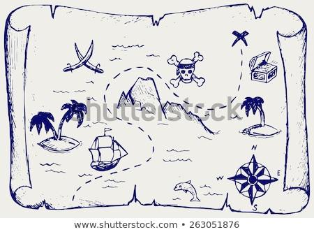 korsan · gemi · ada · siluet · ağaç · deniz - stok fotoğraf © netkov1