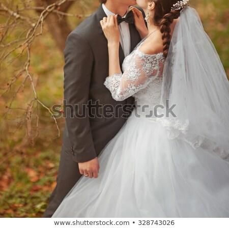 Mutlu yeni evli çift ayakta su Maldivler Stok fotoğraf © bezikus
