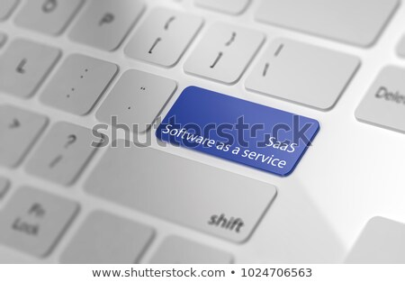 saas   concept on blue keyboard button stock photo © tashatuvango