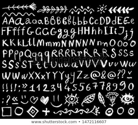kara · tahta · harfler · kroki · ikon · okul - stok fotoğraf © rastudio