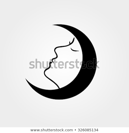 woman face inside a moon with her eyes closed stock photo © shawlinmohd