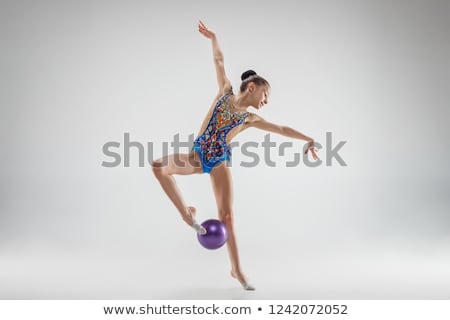 Stock fotó: Ritmikus · tornász · testmozgás · labda · stúdió · gyönyörű