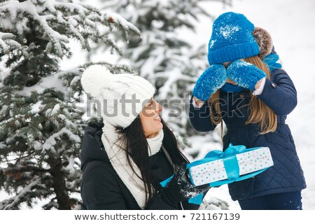 Bambina slitta neve madre inverno Foto d'archivio © dashapetrenko